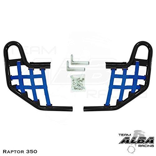 Nerf Bars Raptor 350 - Yamaha Raptor 350 YFM 350 (2004-2013) Standard Nerf Bars Black w/Blue Net