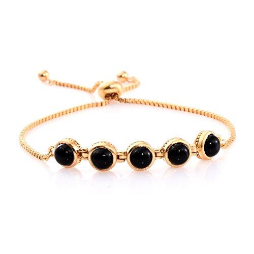- Shop LC Black Onyx Bolo Fashion Tennis Bracelet For Women ION Plated 18K Yellow Gold Size 7.50