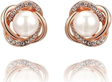 Flowers Rose Gold Pearl Earrings