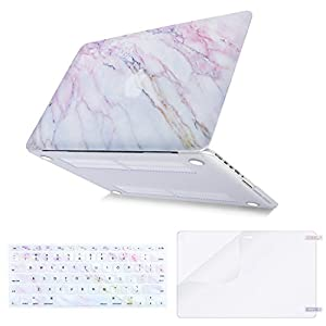Mosiso Plastic Pattern Hard Case with Keyboard Cover with Screen Protector Only for MacBook Pro Retina 13 Inch No CD-Rom (A1502 / A1425, Version 2015/2014/2013/end 2012), Pink Marble
