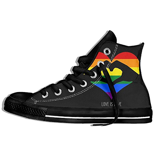Womens Love Is Love LGBT Rainbow Heart High-Top Sneakers Shoes Flat Canvas Running Shoes