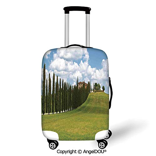 AngelDOU Travel Accessories Elastic Luggage Dust Cover Tuscan Landscape Abandoned Farm House Vineyard on Hill Tall Trees Village Path Green and Light Blue Apply to 18''-28'' - 28 Tuscan Light