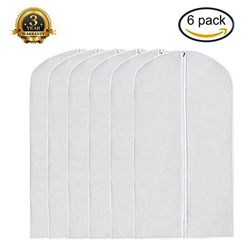 Garment Bag Pack of 6, Full Zipper Dust Suit Cover Breathable White Garment Clothes Bags (Extra Large: 24''×48'')