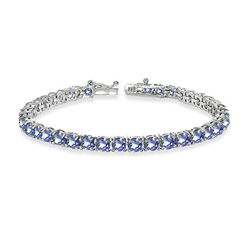 Sterling Silver Genuine Tanzanite Round-cut Tennis Bracelet by GemStar USA