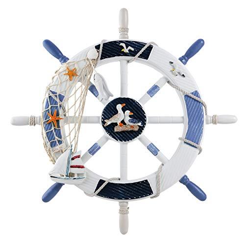 VORCOOL Ship Wheel,Rudder Wall Decor Nautical Beach Wooden Boat Ship Steering Wheel Fishing Net Shell Home Wall Decoration 18 inch