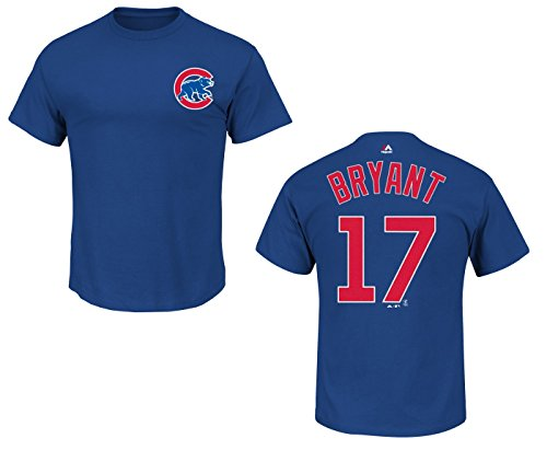 Majestic Kris Bryant Youth Chicago Cubs Blue Name and Number Jersey T-Shirt Large 14-16
