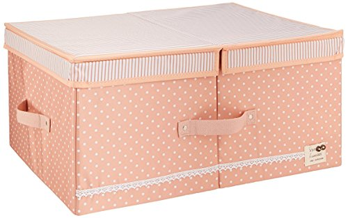 HuoGuo Brand Cloth Organizer Storage Boxes with Lids and Removable Dividers, Folding Storage Bins and Cute Color for Girls (Pink) (Rattan File Cabinet)