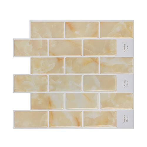 HUE DECORATION Peel and Stick Tile Backspalsh, Anti Mold Yellow Subway Backsplash Tile 11.26'' x 10'' Pack of 8 by HUE DECORATION (Image #7)