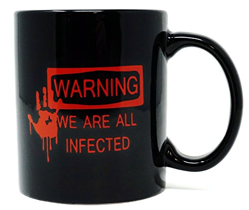 Warning Large Mug (Funny Guy Mugs Warning We Are All Infected Ceramic Coffee Mug, Black, 11-Ounce)