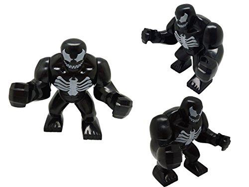 Building Toy Minifigure Giant Venom Spiderman Black 7cm Mini Figure + Minifgure Sticker