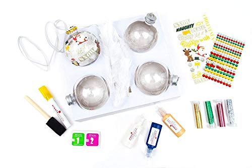 DIY Ornaments 4 Pack - Holiday Ornaments Set, Easy to Use Custom Christmas Decorations, Personalized Christmas Ornaments with All Christmas Tree Decorating Accessories Included Red| Green| Gold