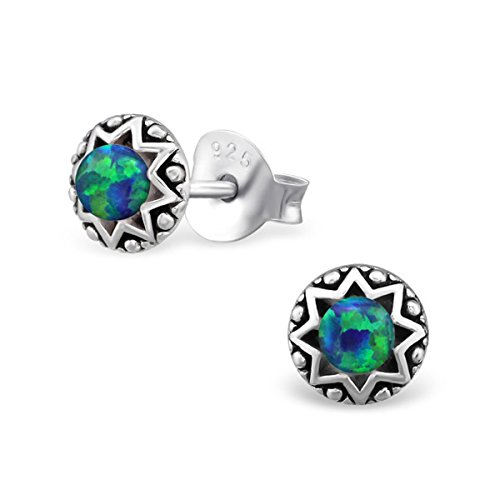 Tiny Round Star Lab Created Opal Silver Earrings Vintage Antique Style Stering Silver 925 Post Studs (E23673) (Peacock)