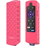 MoKo Protective Case Replacement for Roku Express/Streaming Stick Remote, Non-Slip Silicone Cover Fit Roku Express(3900)/Express+(3910), Streaming Stick(3800)/Stick+(3810) Remote - Fluorescent Pink