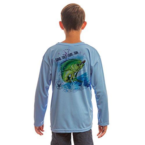Microfiber Kids Shirt - SAND.SALT.SURF.SUN. Saltwater Fish Dorado Youth UPF 50+ UV/Sun Protection Long Sleeve T-Shirt Medium Columbia Blue