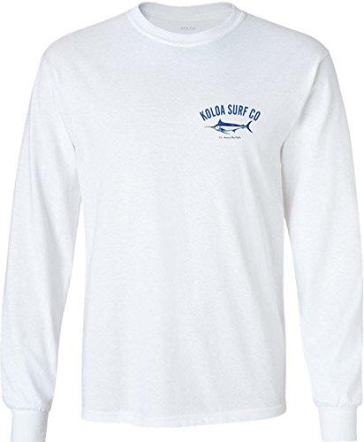 Joe's USA Koloa Surf Blue Marlin Logo Long Sleeve Cotton T-Shirt-White-L