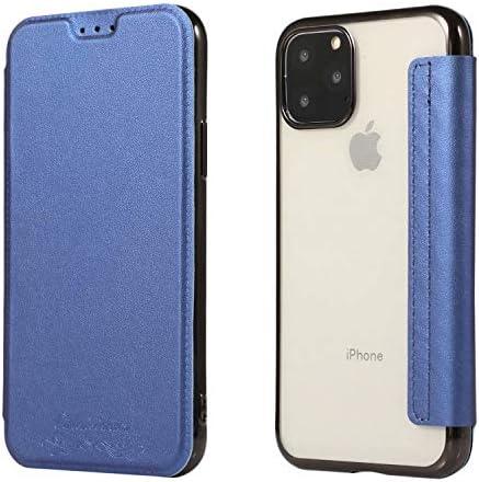 iPhone 11 Pro Max ケース 6.5 インチ 手帳型 カード収納 表面レザー 背面透明 クリア シリコン メッキ加工 全面保護 横開き カバー ワイヤレス充電対応 軽量 薄型 耐衝撃 アイフォン11プロ マックス 対応 (iPhone 11 Pro Max (6.5インチ), ブルー)