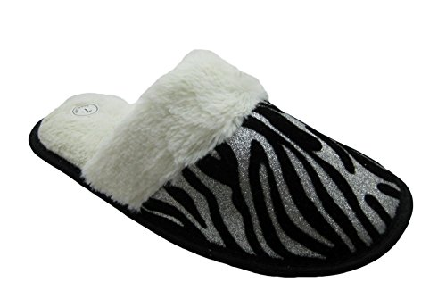 Sparkling Animal Printed House Slippers w/Fluffy Faux Fur Trim Accents for Women (5, Zebra)