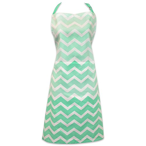 DII Cotton Ombre Chevron Women Kitchen Apron with Pocket and Extra Long Ties, 33 x 28