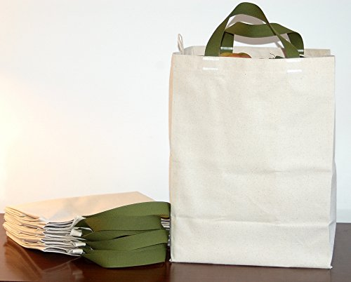Turtlecreek Cotton Canvas Reuseable Grocery Tote Bags - Short Green Handles - Regular Size - 4 - Usa In Shopping
