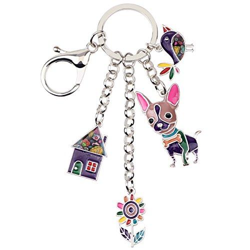 Bonsny Enamel Alloy Chain Chihuahua Dog Key Chains For Women Car Purse Handbag Charms Gifts (Purple) ()