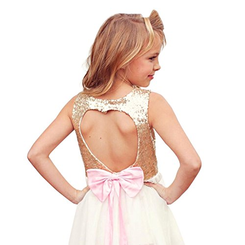 Dress Sequins Bodice Shinny Flower Girl Pegeant Dress Heart Hollow Out Back Girl Bridesmaid Princess Clothing (Gold,140)