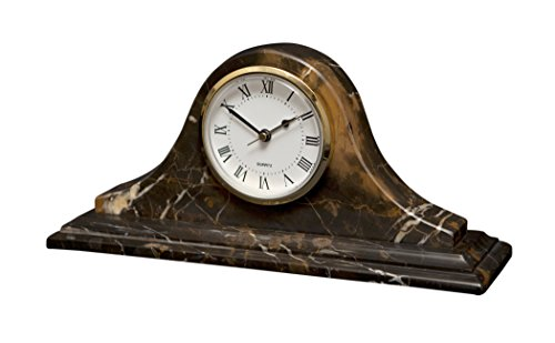 - Designs by Marble Crafters Black and Gold Marble Mantel Clock
