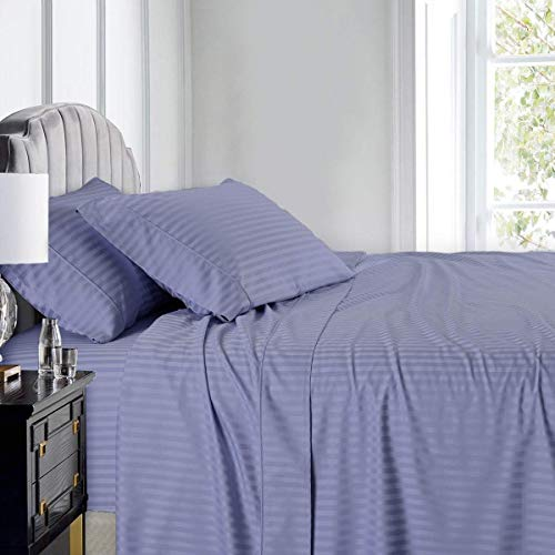 (Royal Hotel Stripe Sheets - 600 Thread Count - 4PC Bed Sheet Set - 100% Cotton - Sateen Stripe, Deep Pocket, King Size, Periwinkle)