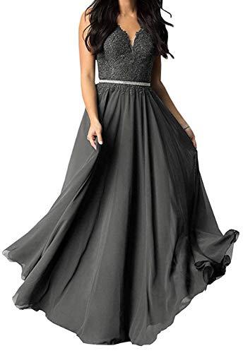 JoyBriadl Women's V Neck Lace Appliques Long Prom Dresses Bodice Chiffon Formal Evening Gown Grey8 (Chiffon Sweetheart Neck Beading)