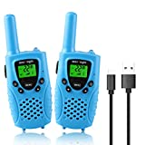 wesTayin Walkie Talkies Rechargeable for Kids, 4 Miles Long Range Walkie Talkies for Adults with Durable Shape and Flashlight 2 Pack(Blue)