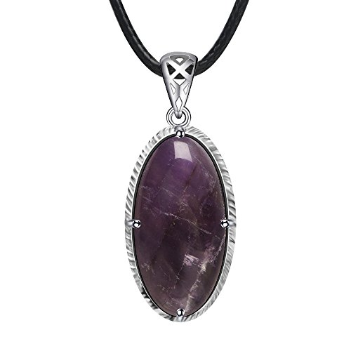 Stone Story Stone Pendant Gemstone Necklace Semi Precious Stone Crystal Necklace (Amethyst) ()