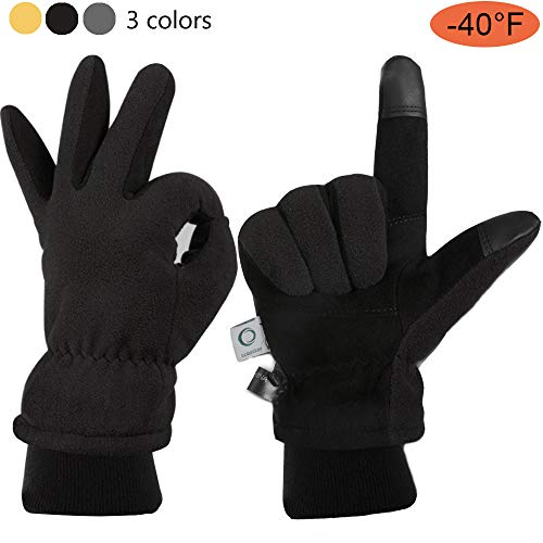 - CCBETTER Winter Gloves with Windproof Deerskin Suede Leather, Cold-proof Gloves -Insulated Polar Fleece Heatlok Cotton Layer-Black/Gray/Yellow (Black, XL)