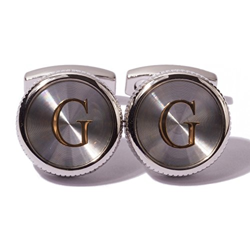 HJ Men's 2PCS Fashion Dazzle Tuxedo Shirts Platinum Plated Cufflinks Initial Letter 2 Color A-Z (silver G) by HJ (Image #1)