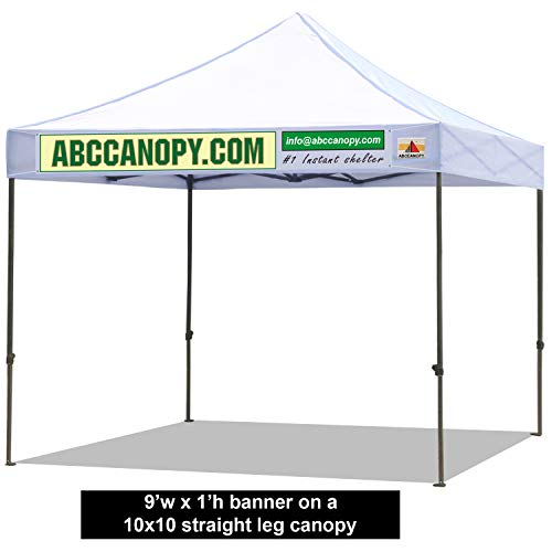 (ABCCANOPY Custom Banner for Pop up Tents Includes 4 Ropes and 2 Wooden Stick (Custom Banner-9' Wide x 1')