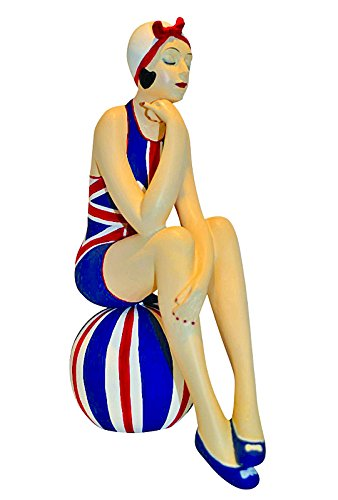 Suit Striped Union (Collectible Figurines - Bathing Beauty in Union Jack Bathing Suit Seated Atop A Striped Beach Ball - Nautical Decor)