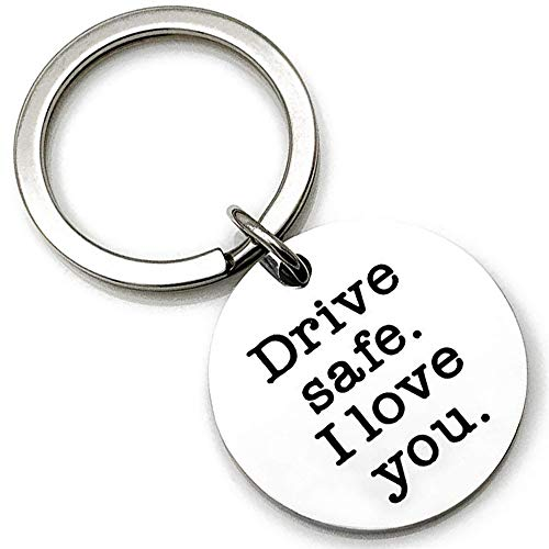 AXEN Key Chain Gift, Drive Safe Handsome I love you, Round Style 1