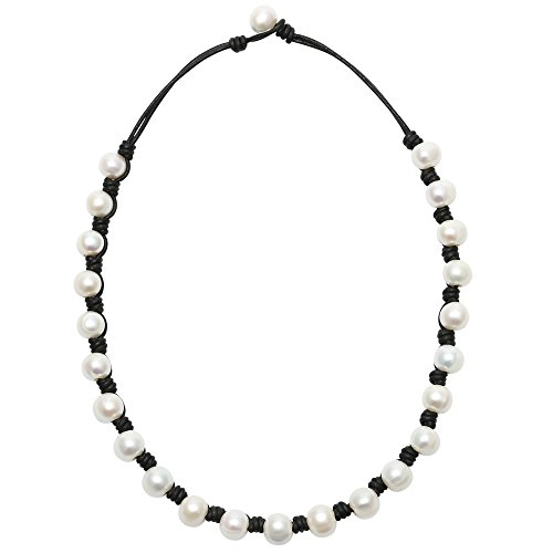 PearlyPearls Pearl Choker Necklace on Black Leather Cord Jewelry for Women 18''