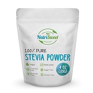NatriSweet 100% Pure Stevia Powder 4 oz (113g) | Zero Calorie All Natural Sweetener | Sugar Substitute | No Carbohydrates | No Artificial Sweeteners | No Fillers or Binders | Vegan