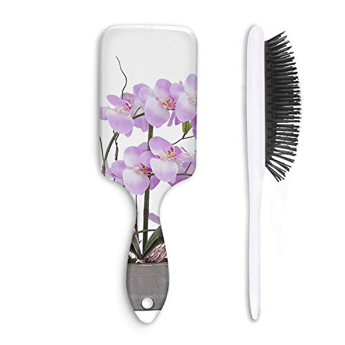 - HairBest Potted Orchid Purple Funny Cushion Hairbrush Natural Detangling Brushes Great on Wet or Dry Hair for Women Men Kids Stimulate Scalp Help Growth Add Hair Shine