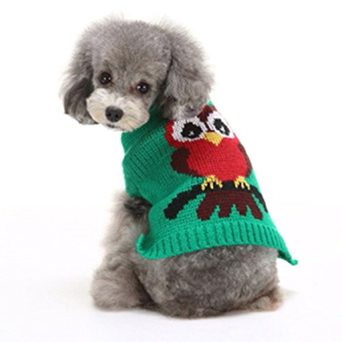 Kuoser Holiday Christmas Classic Owl Pattern Sweater Knitwear for Cold Weather Small Medium sized dog winter Coat with Collar( XS-XL ), Green M (Italian Greyhound Dog Sweaters compare prices)
