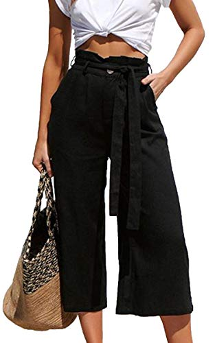 ECOWISH Womens Cotton Soft Palazzo Wide Leg Pant with Pockets High Waist Casual Loose Flowy Pants with Belt Black M