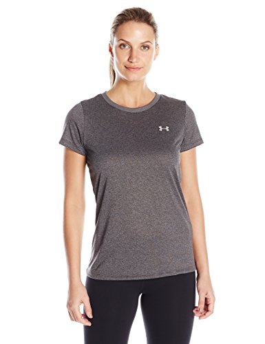Under Armour Womens Tech T-Shirt, Carbon Heather (090)/Metallic Silver, Large