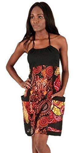 #4255 Damen Designer Patchwork Kleid A-Linie Sommerkleid Print Design Baumwolle