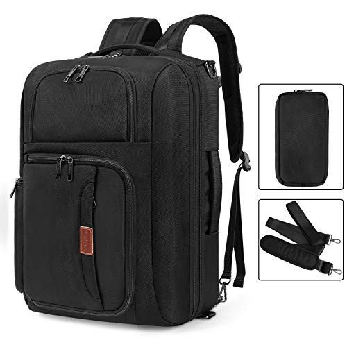 Srotek 17.3 inch Convertible Laptop Backpack Large Messenger Bag Shoulder Bag Business Briefcase Carry-On Luggage Backpack Case with Removable Strap, Small Pouch for Travel School Men Women, -