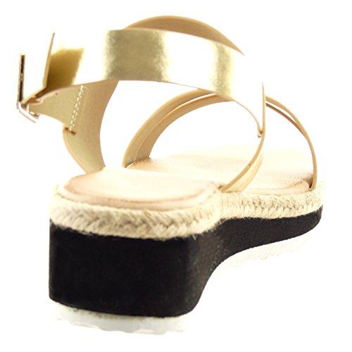 Sopily damen Mode Mode Mode Schuhe Sandalen String Tanga Schleife Seil Gold 69c870