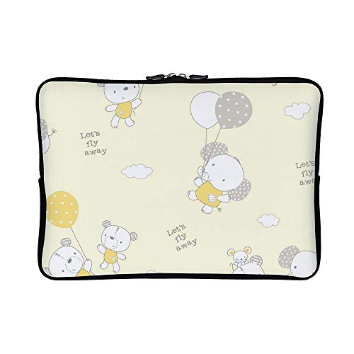 DKISEE Abstract Allover Animals Balloons Yellow Neoprene Laptop Sleeve Case Waterproof Sleeve Case Cover Bag for MacBook/Notebook/Ultrabook/Chromebooks -