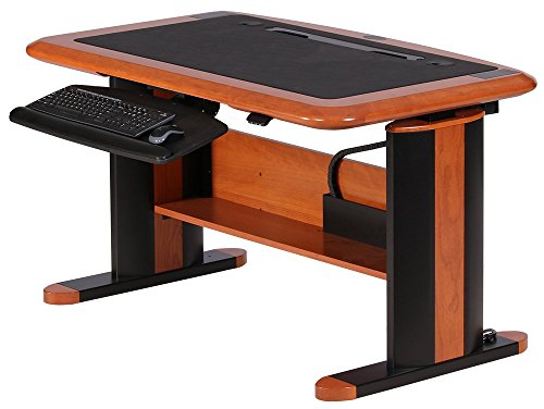 Luxury Sit-Stand Desk Wellston Executive Standard Size, Natural Cherry, Keyboard Tray -