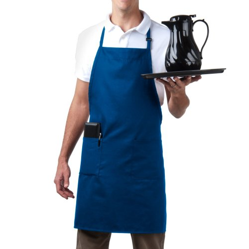 Bib Aprons-MHF Brand-1 Piece-new Spun Poly-Commercial Restaurant Kitchen- Adjustable-Full length-3 Pockets (Royal Blue)