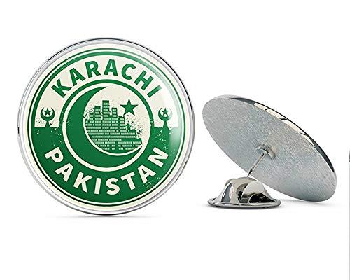 TG Graphics Karachi Pakistan Travel Emblem Art Round Metal Lapel Pins Cute Cool Hat Shirt Pin Tie Tack ()