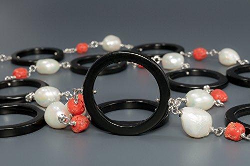 Michi Collier de Agate noire, perles et corail du Méditerranée