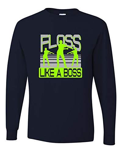 (Medium J. Navy Adult Floss Like A Boss Long Sleeve T-Shirt)